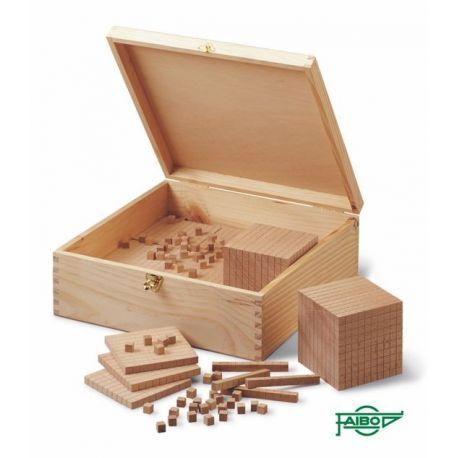 Bloques multibase madera base 10. Caja 190 piezas