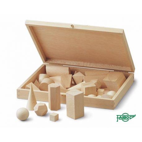 Cossos geomètrics fusta faig 40x40 mm. Capsa 28 peces