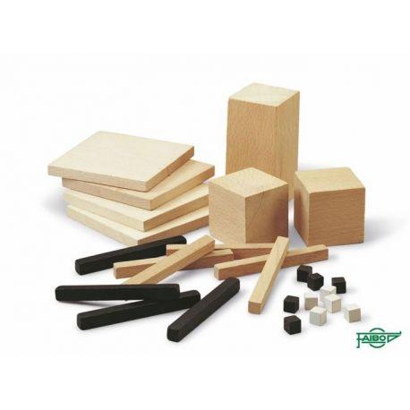 Decímetre cúbic descomponible fusta. Capsa 26 peces