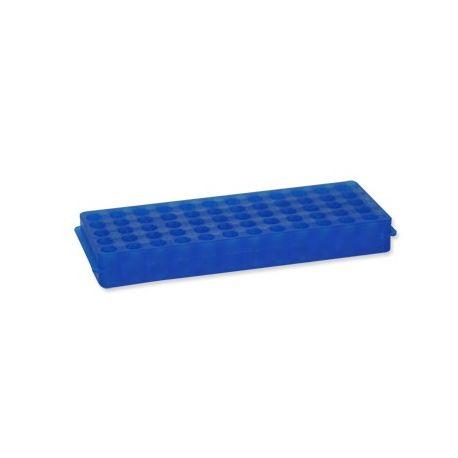 Gradilla microtubos plástico PP reversible 0'5 / 1'5 ml. Capacidad 96 unidades