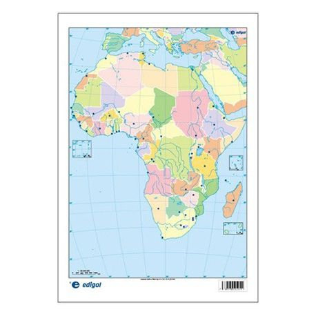Mapa mural mudo rotulable 1000x1300 mm. África