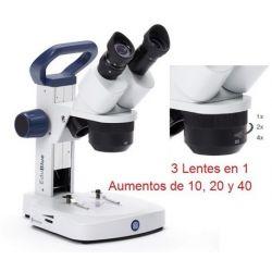 Estereomicroscopi binocular Edublue ED-1802-S. Braç fix 10x-20x-40x