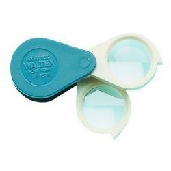 Lupa plegable con dos lentes orgánicas 2x-6x-10x. Base plástico 22 mm