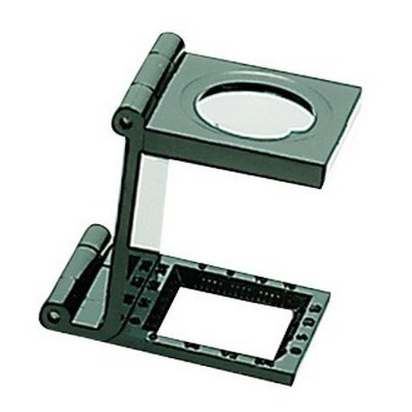 Lupa plegable cuentahilos lente vidrio 6x. Base aluminio 25x25 mm