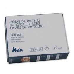 Hojas bisturí adecuadas número 4 forma  22. Caja 100 unidades