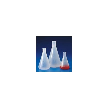 Matraz Erlenmeyer plástico PP graduado. Capacidad 250 ml