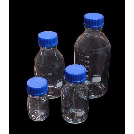 Frasco vidrio borosilicato graduado con rosca ISO. Capacidad