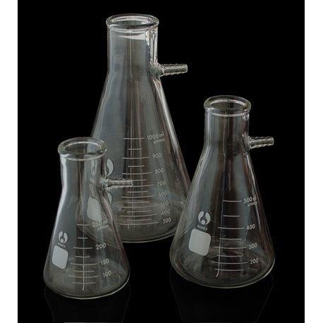 Matraz Kitasato vidrio con boca 30 mm. Capacidad 250 ml