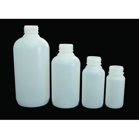 Frasco plástico PEHD cuello ancho con tapón rosca D-34. Capacidad 125 ml