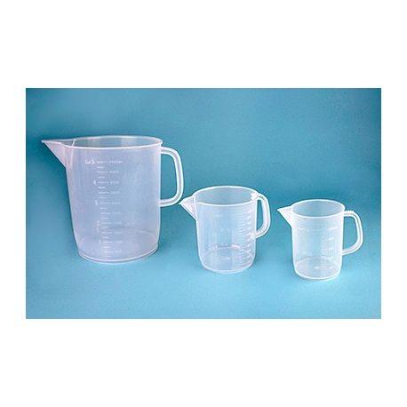 Jarra plástico PP medida forma baja. Capacidad 250 ml