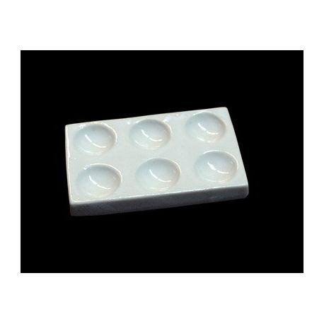 Placa tinción porcelana con 6 cavidades. Medidas 95x60 mm