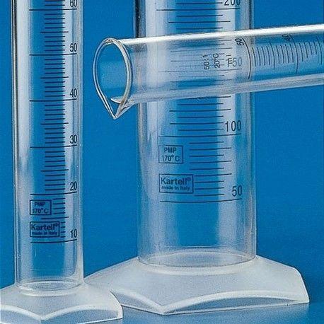 Probeta plástico PMP graduada 5/1. Capacidad 500 ml