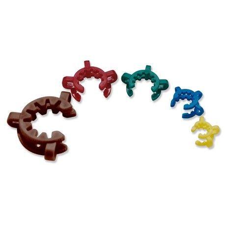 Clip sujeción uniones esmeriladas plástico POM. Unión 14/23. Amarillo