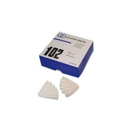 Papeles filtro cualitativos plegados 100 mm. Caja 100 hojas