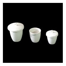 Crisol porcelana forma alta con tapa. Medidas 46x40 mm (30 ml)