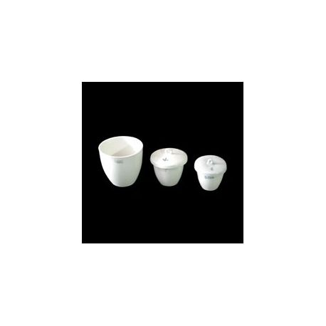 Crisol porcelana forma media con tapa. Medidas 42x48 mm (40 ml)
