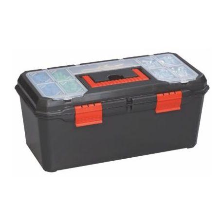 Caja herramientas plástico con 2 organizadores. Medidas 410x200x180 mm