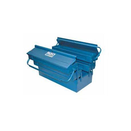 Caja herramientas metálica con 3 departamentos. Medidas 400x200x160 mm