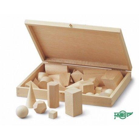 Cuerpos geométricos madera haya 40x40 mm. Caja 15 piezas