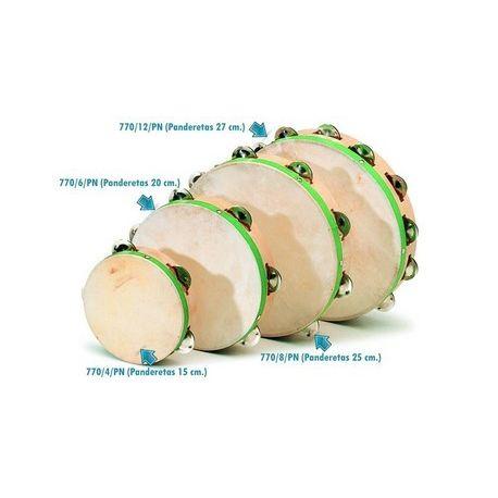 Pandereta piel natural con 6 pares sonajeros. Diámetro 200 mm