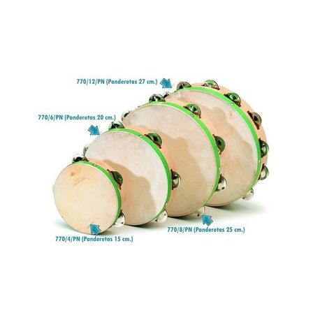 Pandereta piel natural con 8 pares sonajeros. Diámetro 250 mm
