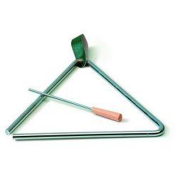 Triangle acer amb batedor i suport. Mides 200x200 mm