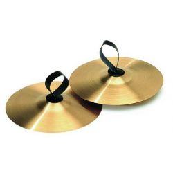 Platillos latón 250 mm con anillas piel. Par