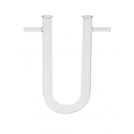Tubo comunicación vidrio forma U con olivas. Medidas 15x150 mm
