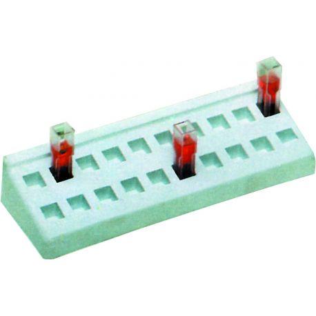 Gradilla plástico PP adecuada cubetas 10 mm. Capacidad 20