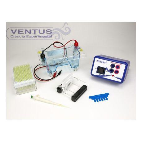 Equipo base prácticas electroforesi V-44521. Cubeta y fuente