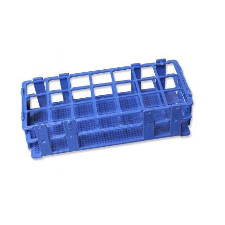 Gradilla plástico PP adecuada tubos 25 mm. Capacidad 24 tubos