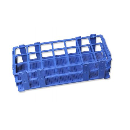 Gradilla plástico PP adecuada tubos 20 mm. Capacidad 40 tubos