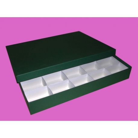 Caja minerales cartón 25 piezas. Compartimentos 75x55x50 mm