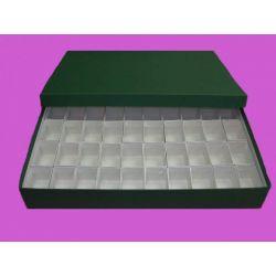 Caja minerales cartón 50 piezas. Compartimentos 55x35x50 mm