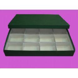Caja minerales cartón 16 piezas. Compartimentos 95x70x50 mm