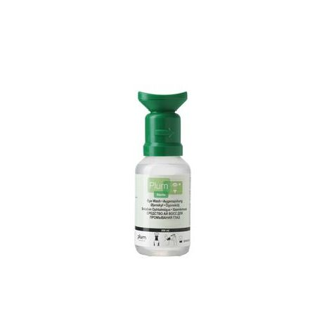 Solución lavaojos salina cloruro de sodio 0'9% Plum P-4604. Frasco 1 ojo 500 ml