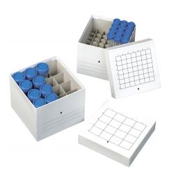 Caja cartón congelable criotubos CBOX-081. Capacidad 81x2 ml