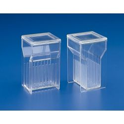 Cubeta tinción plástico PMP Hellendhal K-355. Vertical 8 ranuras