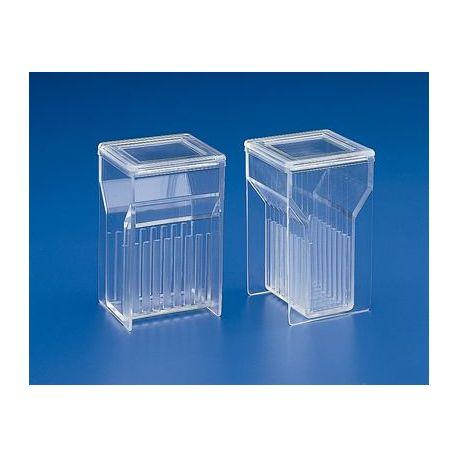 Cubeta tinció plàstic PMP Hellendhal K-355. Vertical 8 ranures