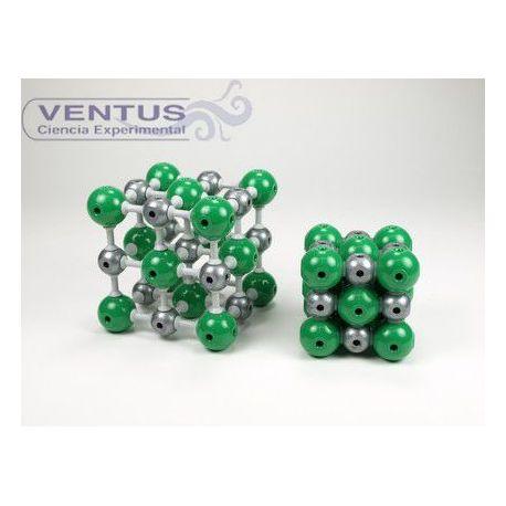 Modelo cristalográfico MKO-127-27. Cloruro de sodio, 27 átomos