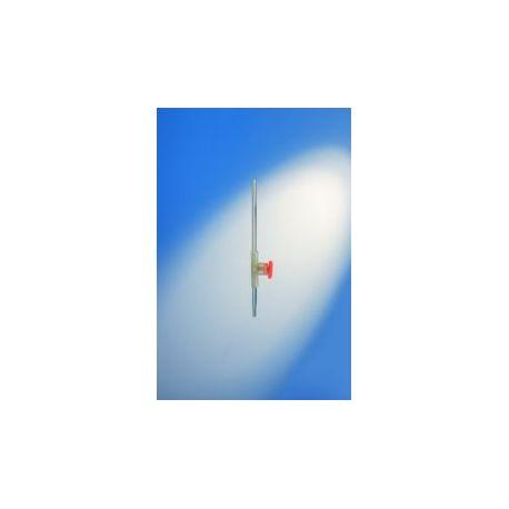 Bureta vidrio franja llave rosca PP Proton graduada 0'10 ml. Capacidad 25 ml
