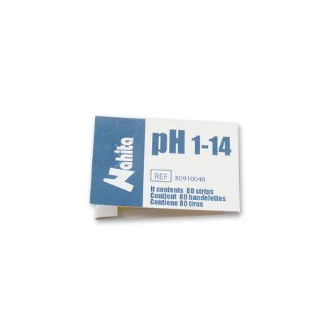 Papeles reactivos indicadores pH escala 1 a 14 (1 pH). Estuche 80 tiras