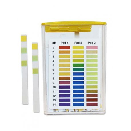 Tiras indicadoras plástico pH 1-14 (1'0 pH) PH-0114-3. Caja 100 unidades