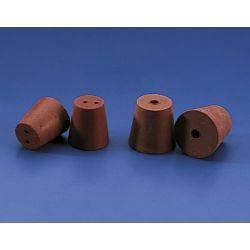 Tapón goma cónica roja 1 orificio K-3826. Medidas 23x16x26 mm