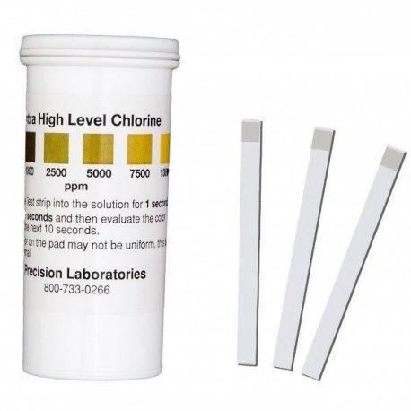 Tiras reactivas cloro 0-1000-2500-5000-7500-10000 ppm CHL-10000. Tubo 100 unidades