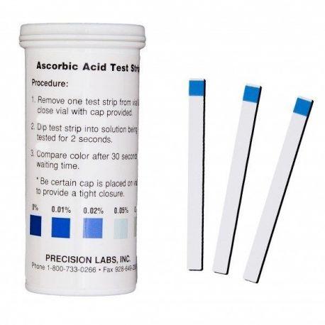 Tiras reactivas ácido ascórbico 0-0'01-0'02-0'05-0'1% ASC. Tubo 50 unidades