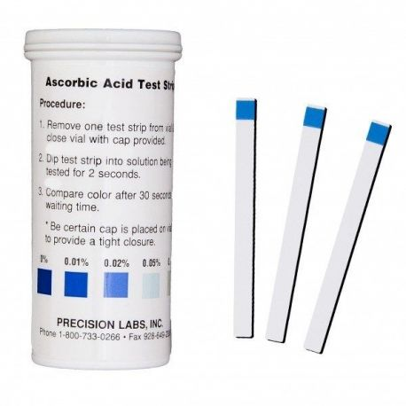 Tires reactives àcid ascòrbic 0-0'01-0'02-0'05-0'1% ASC. Tub 50 unitats