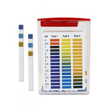 Tiras indicadoras plástico pH 0-7 (0'5 pH) PH-0007-3. Caja 100 unidades
