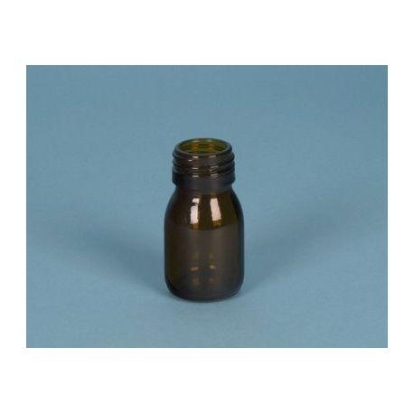 Frasco vidrio topacio con tapón rosca D-28. Capacidad 30 ml