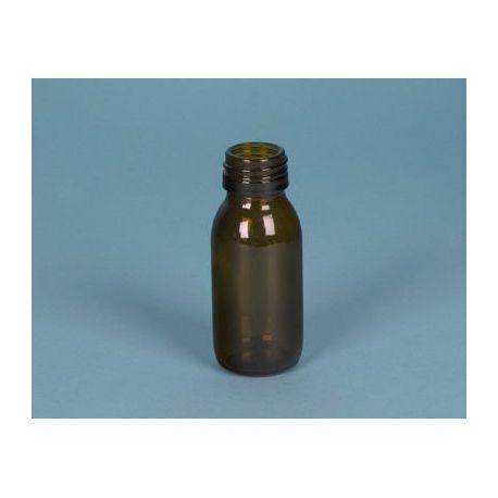 Frasco vidrio topacio con tapón rosca D-28. Capacidad 250 ml